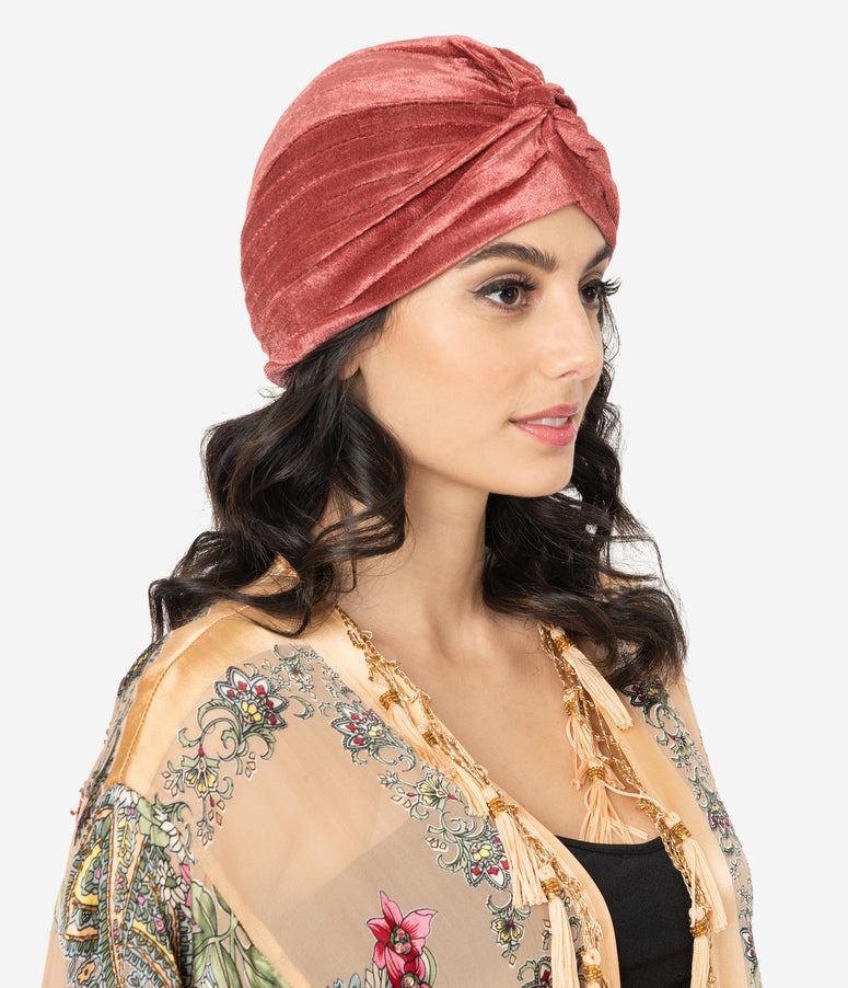 Vintage Style Coral Velvet Knotted Turban