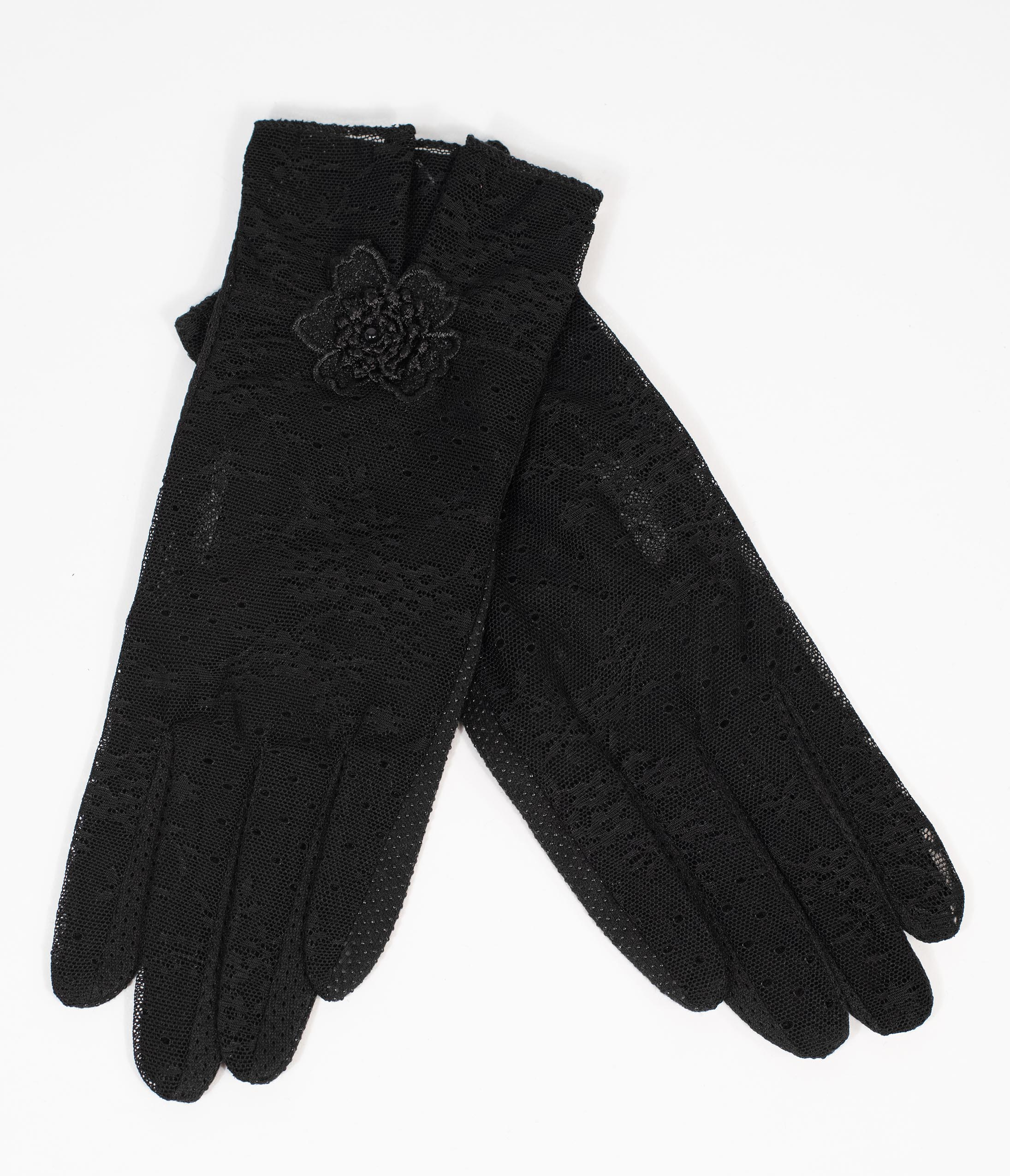 Vintage Style Gloves- Long, Wrist, Evening, Day, Leather, Lace Black Lace  Floral Accent Gloves $22.00 AT vintagedancer.com