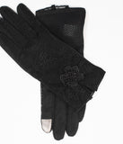 Black Lace & Floral Accent Gloves