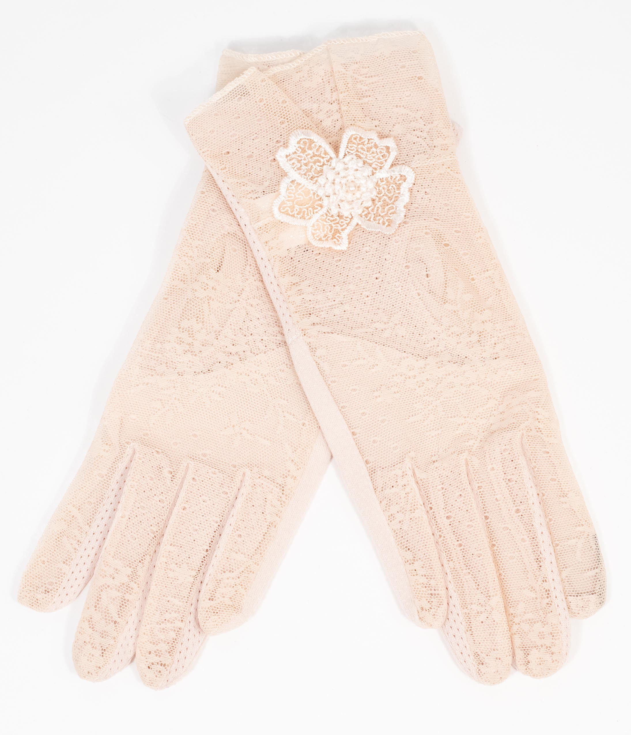 Vintage Style Gloves- Long, Wrist, Evening, Day, Leather, Lace Beige Lace  Floral Accent Gloves $22.00 AT vintagedancer.com