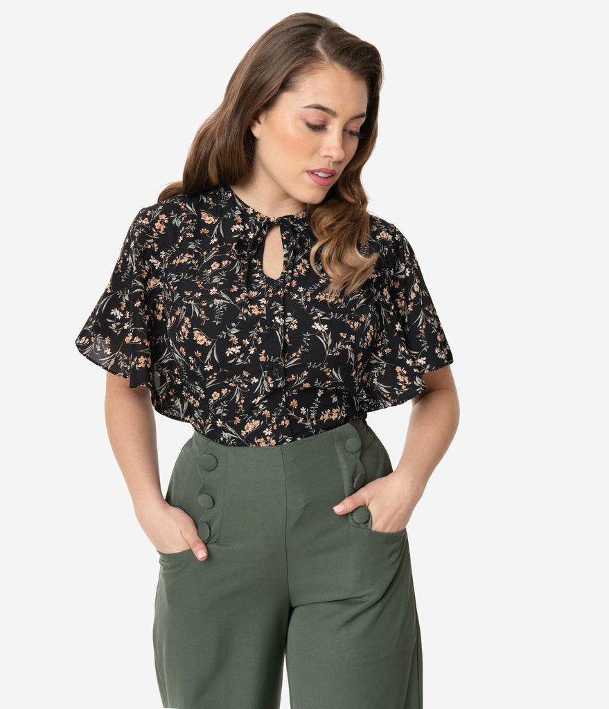 Unique Vintage Black Wildflower Print Butterfly Cecilia Blouse