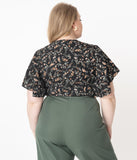 Unique Vintage Plus Size Black Wildflower Print Butterfly Cecilia Blouse