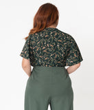 Unique Vintage Plus Size Dark Green Wildflower Print Butterfly Cecilia Blouse