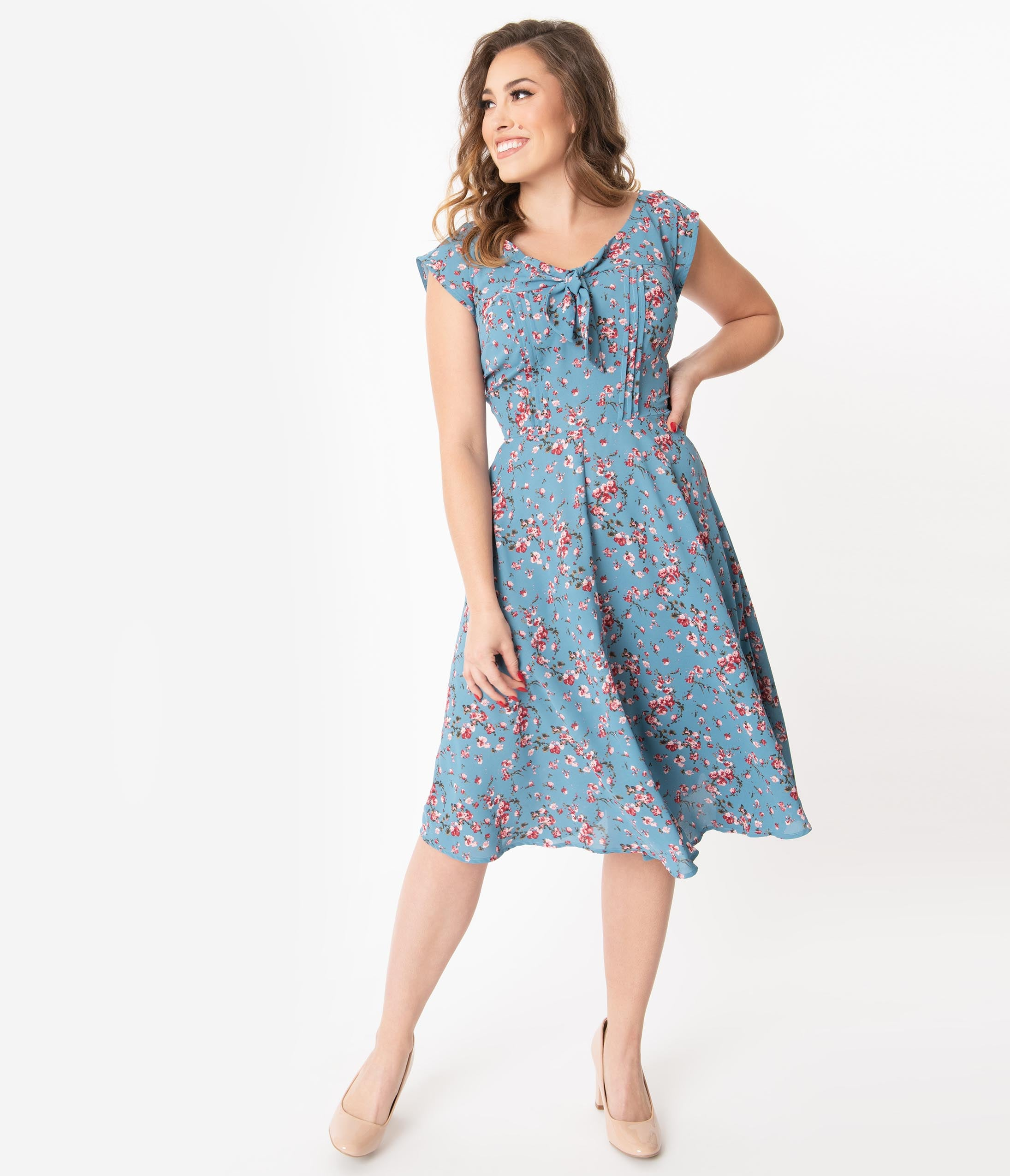 Swing Dance Clothing You Can Dance In Unique Vintage 1940S Chambray Blue  Pink Floral Print Havilland Dress $88.00 AT vintagedancer.com