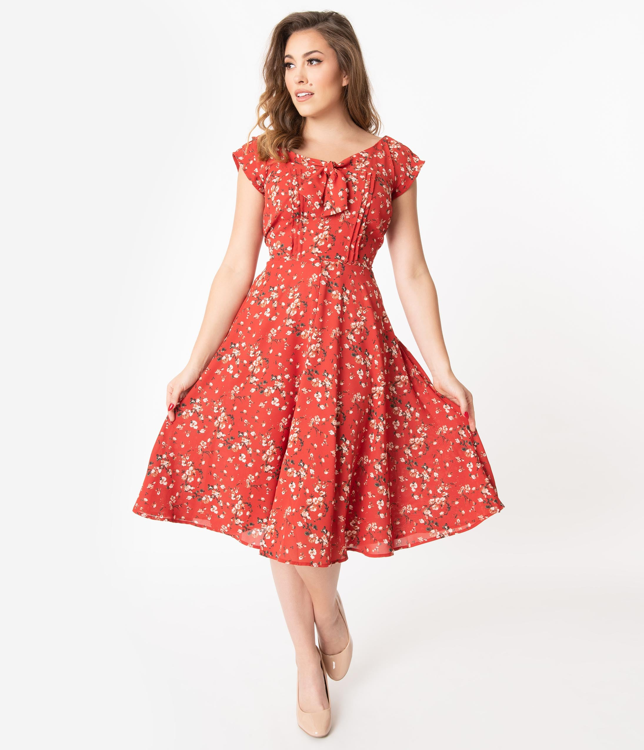1940s Dresses | 40s Dress, Swing Dress Unique Vintage 1940S Style Red Floral Print Havilland Dress $88.00 AT vintagedancer.com
