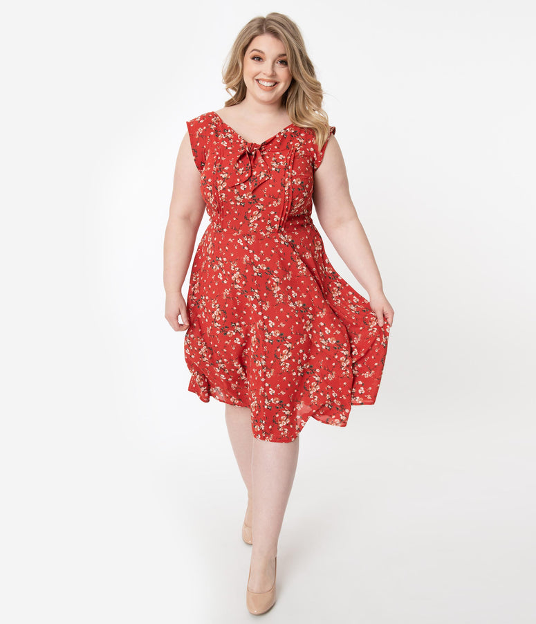 Unique Vintage Plus Size 1940s Style Red Floral Print Havilland Dress