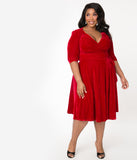 Unique Vintage Plus Size 1940s Style Burgundy Velvet Kelsie Wrap Dress