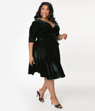 Unique Vintage Plus Size 1940s Style Emerald Velvet Kelsie Wrap Dress