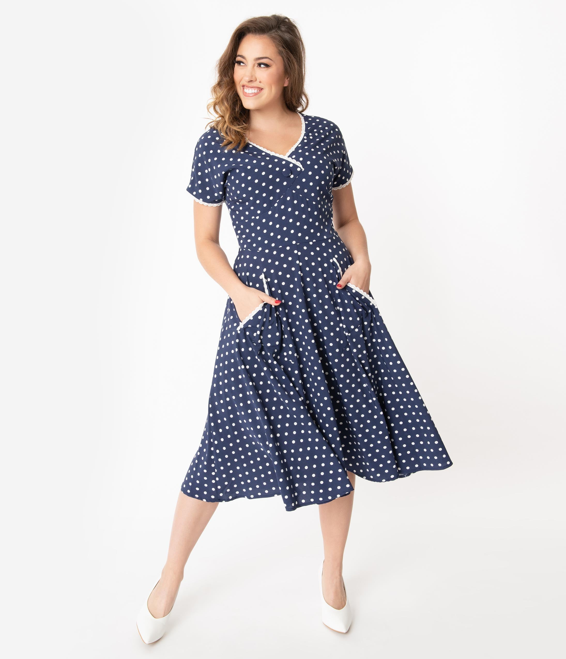 1950s Dresses, 50s Dresses | 1950s Style Dresses Unique Vintage 1950S Navy  White Polka Dot Goldie Swing Dress $68.00 AT vintagedancer.com