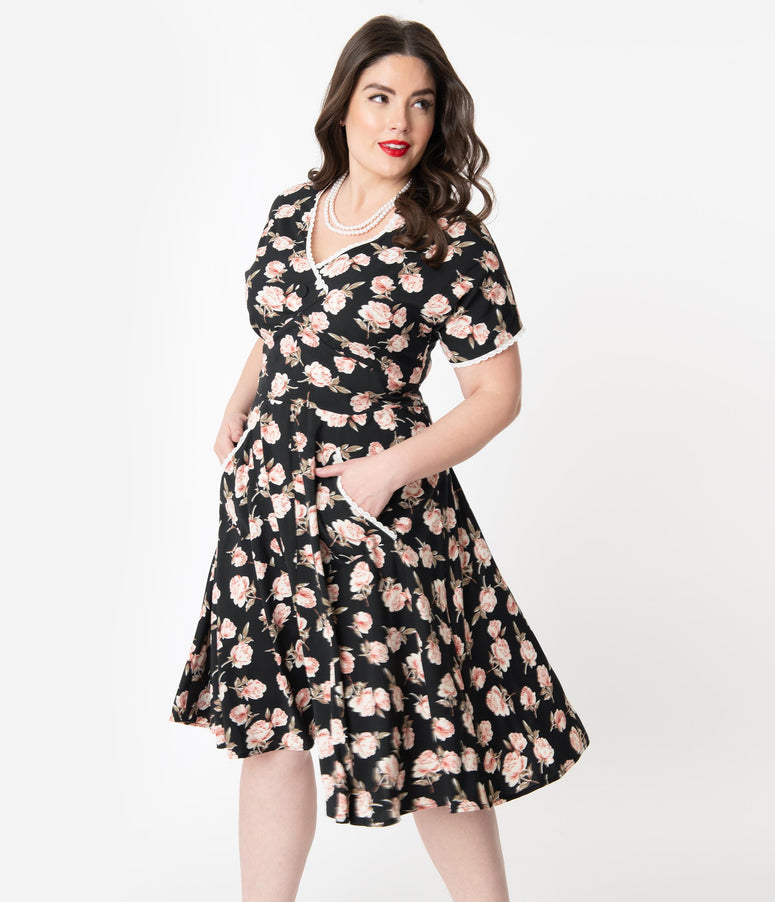 Unique Vintage Plus Size 1950s Black & Pink Floral Goldie Swing Dress