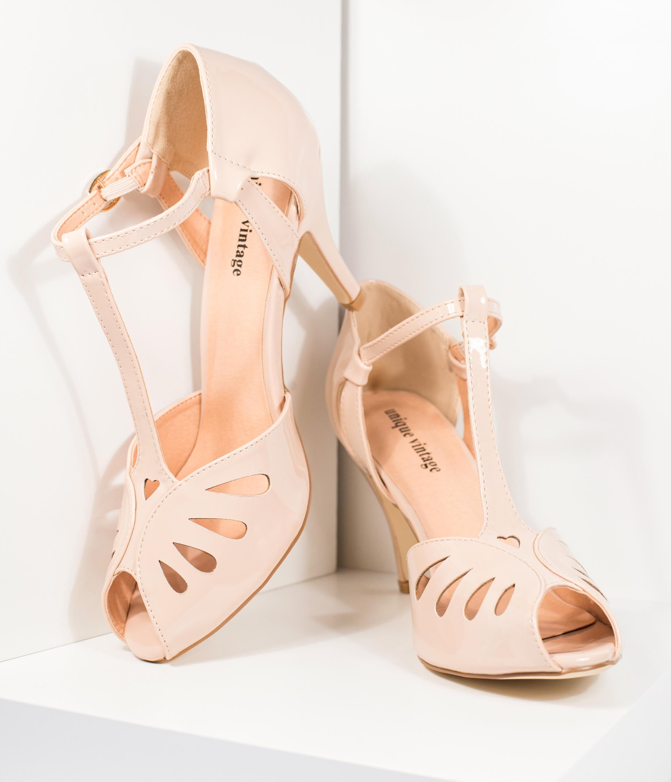 1940s Style Wedding Dresses | Classic Wedding Dresses Unique Vintage Beige Patent Leatherette T-Strap Everly Pumps $48.00 AT vintagedancer.com