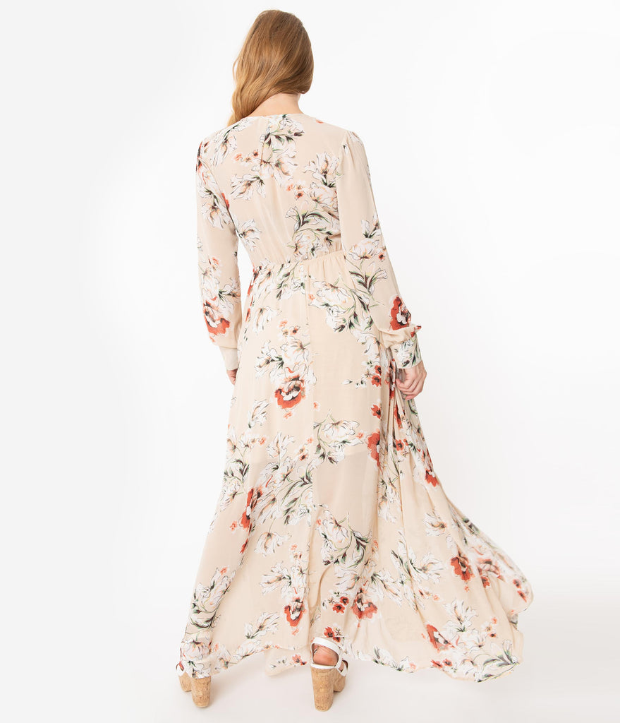 Unique Vintage Light Tan Floral Farrah Maxi Dress