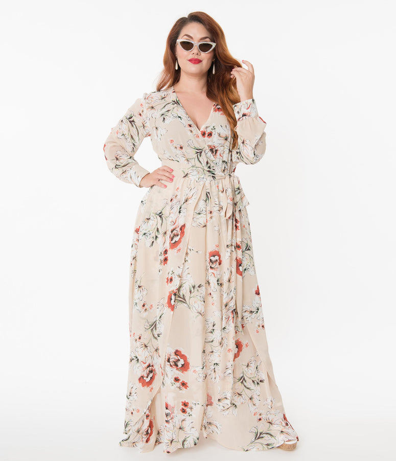 Unique Vintage Plus Size Light Tan Floral Farrah Maxi Dress