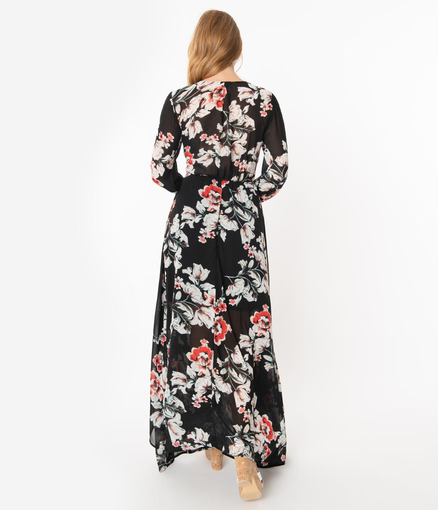 Unique Vintage Black Floral Farrah Maxi Dress