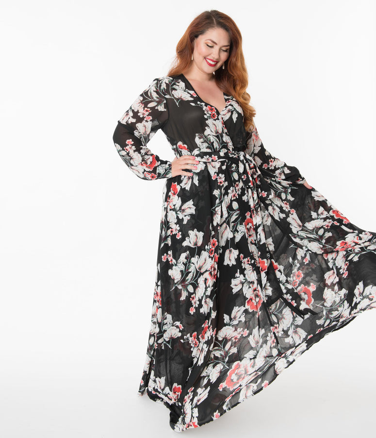 Unique Vintage Plus Size Black Floral Farrah Maxi Dress