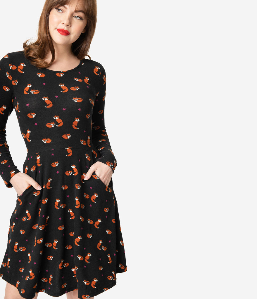Black & Orange Fox Print Fit & Flare Sweater Dress