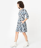Grey & Blue Cactus Print Sweater Fit & Flare Dress