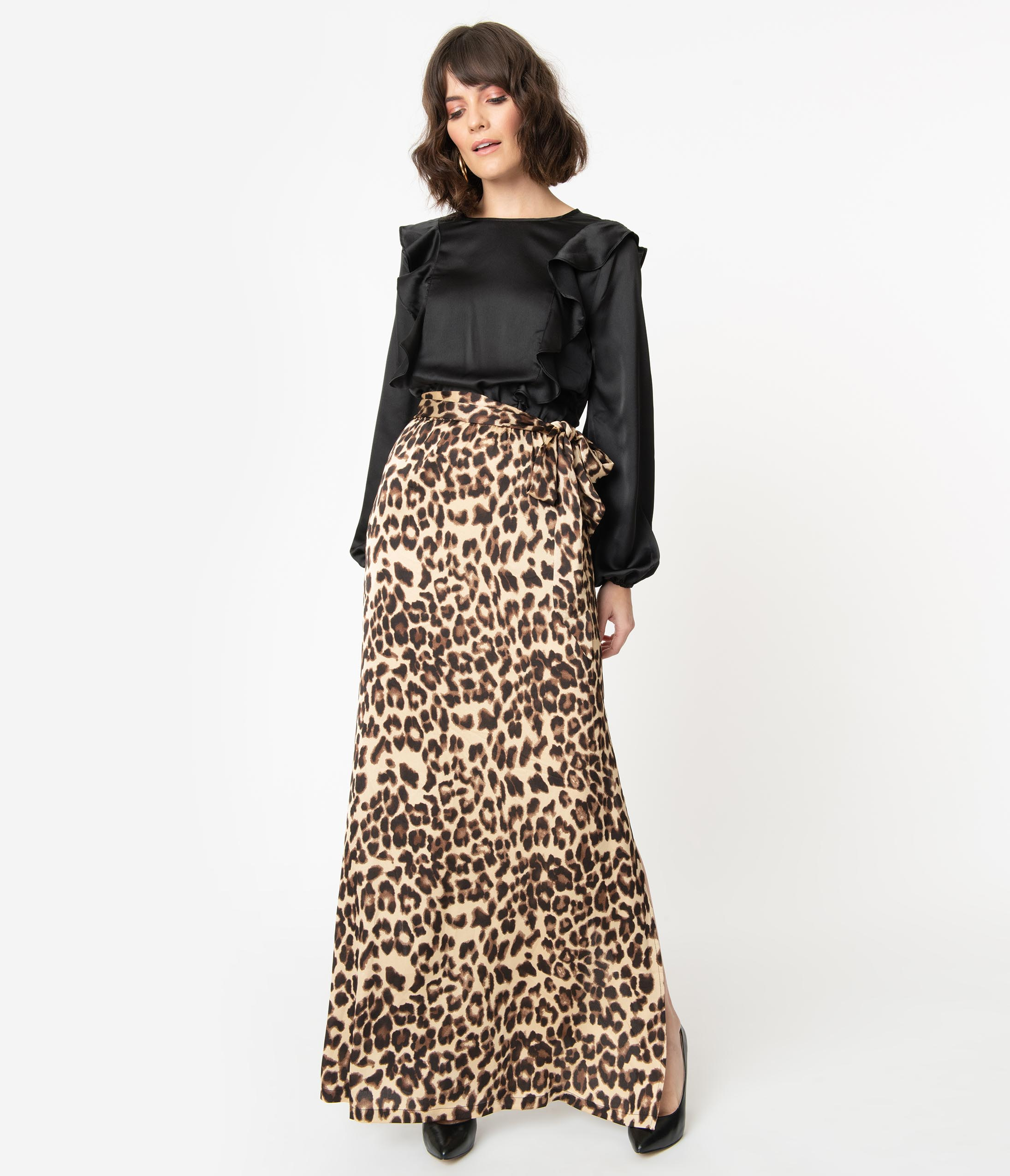 70s Outfits – 70s Style Ideas for Women 1970S Style Black  Leopard Ruffle Maxi Dress $68.00 AT vintagedancer.com