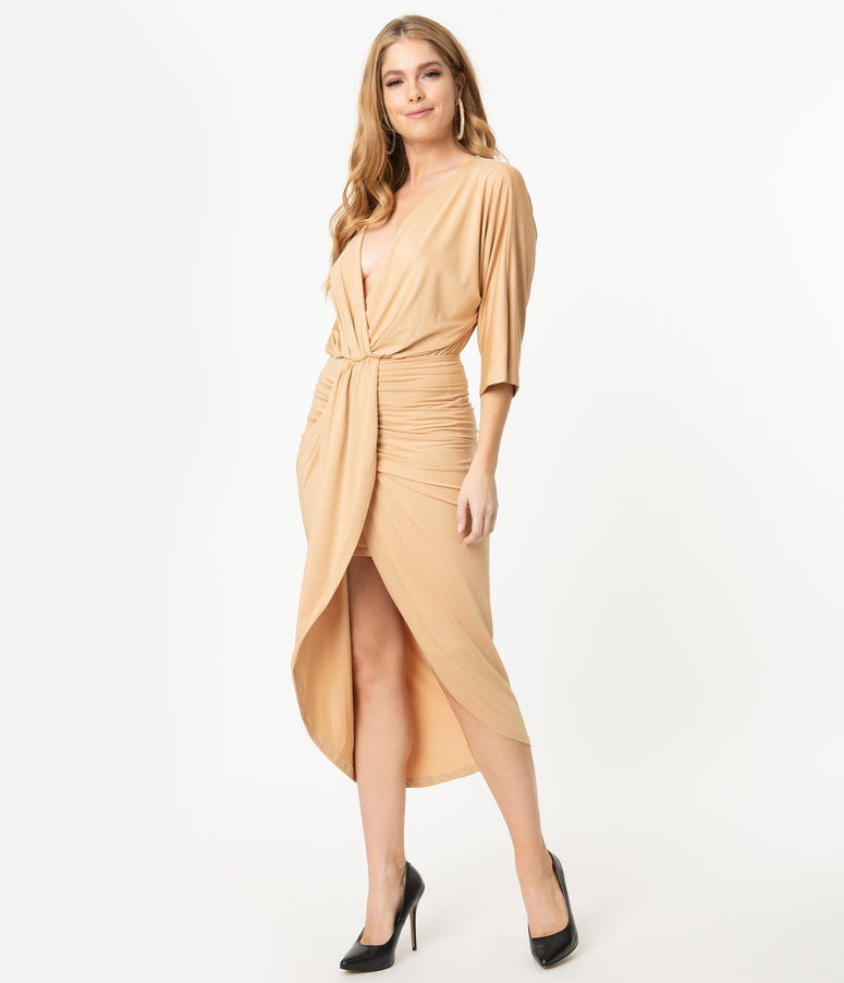 Retro Style Beige Ruched Wrap Front Dress
