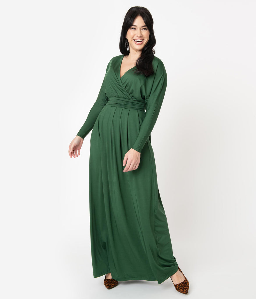 Retro Style Hunter Green Long Sleeve Maxi Dress