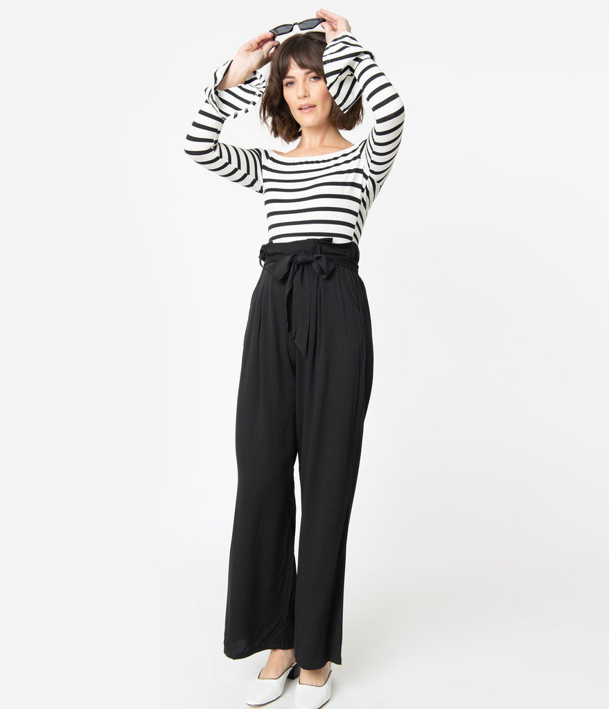 1970s Style Black & White Stripe Colorblock Jumpsuit