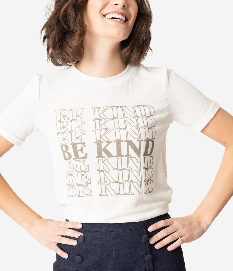 Beige Be Kind Short Sleeve Knit Top