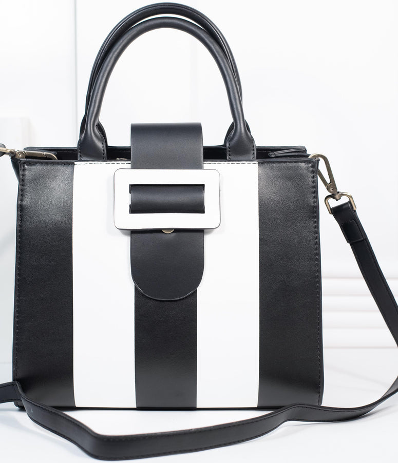 Lola Ramona Black & White Stripe Leatherette Vivi Adored Handbag