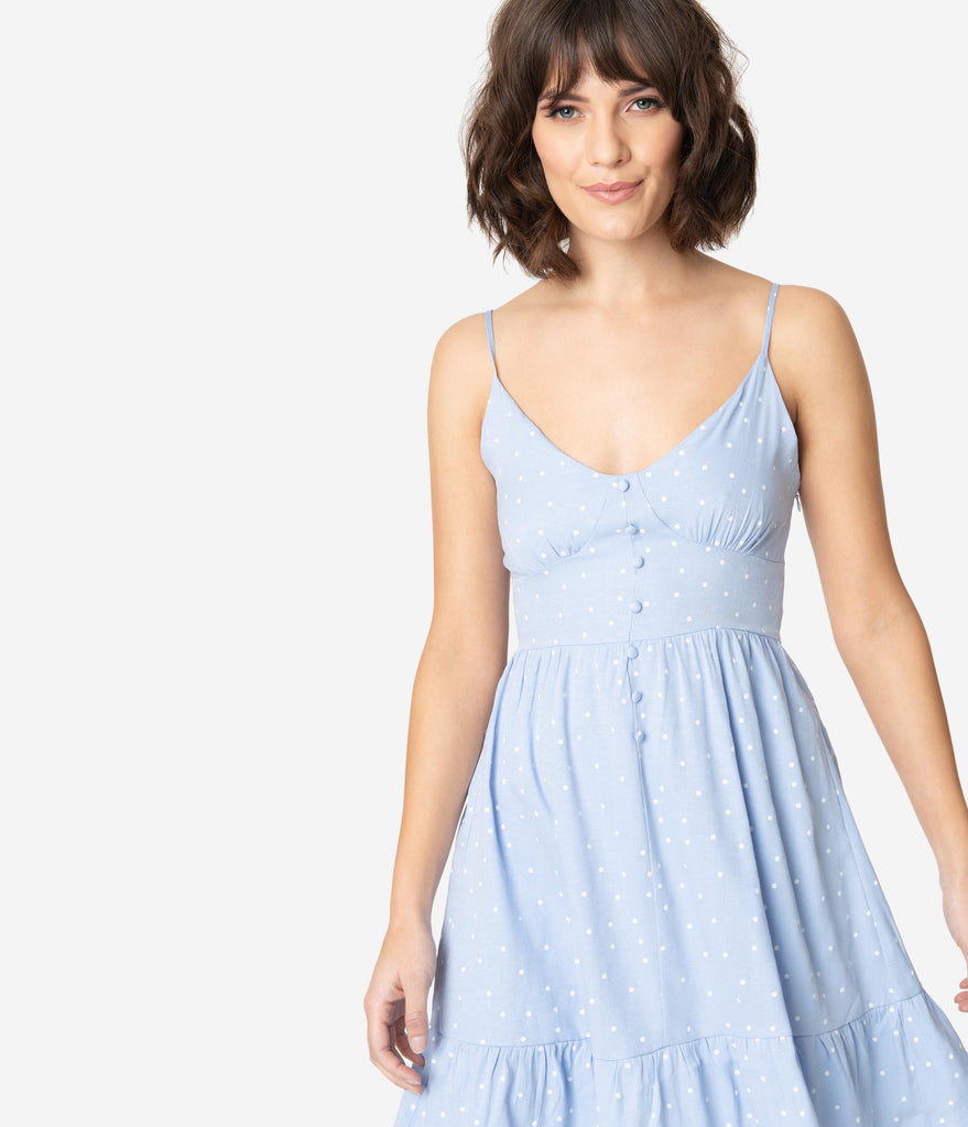 Powder Blue & White Pin Dots Fit & Flare Dress