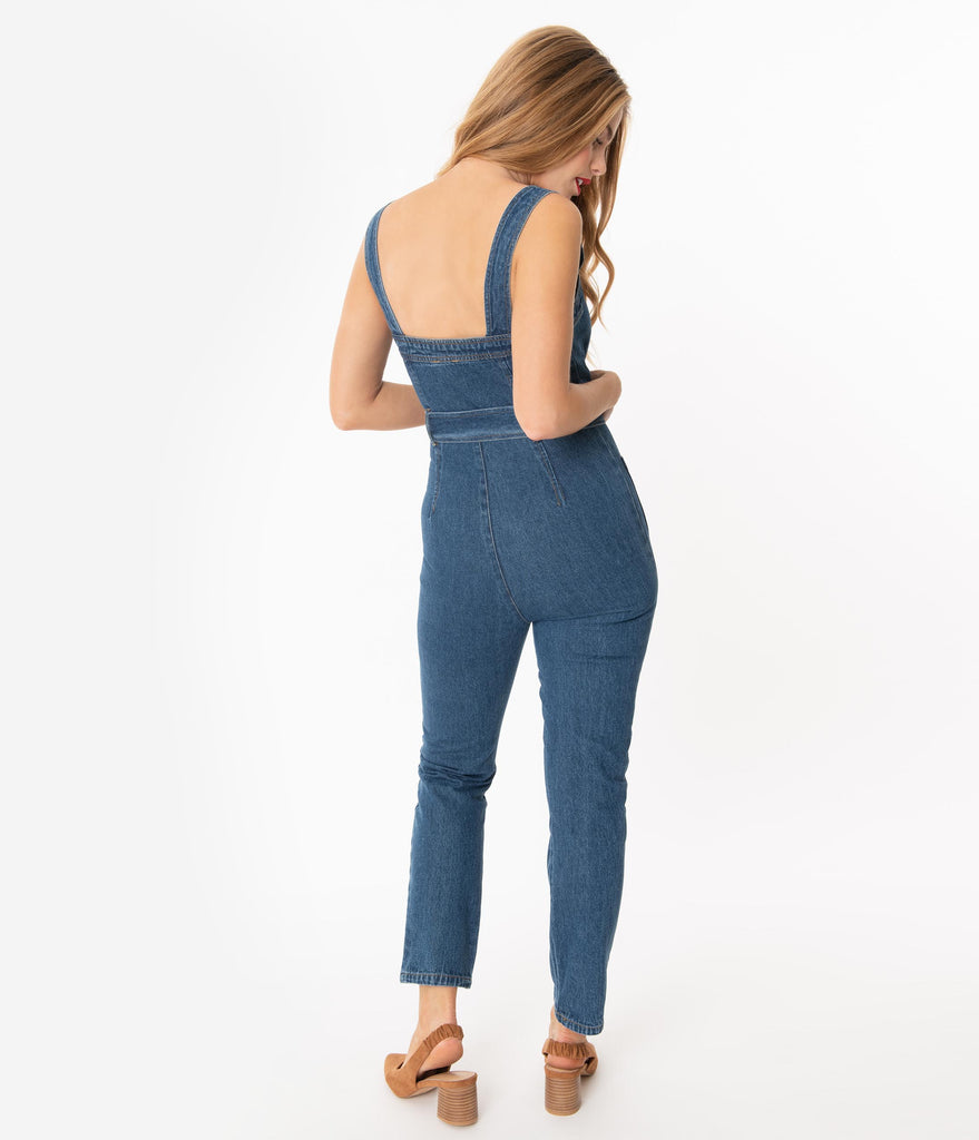 Medium Blue Denim Zip Front Belted Jumpsuit