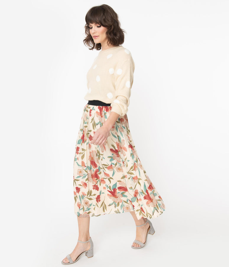 Vintage Style Cream & Multi Floral Pleated Midi Skirt
