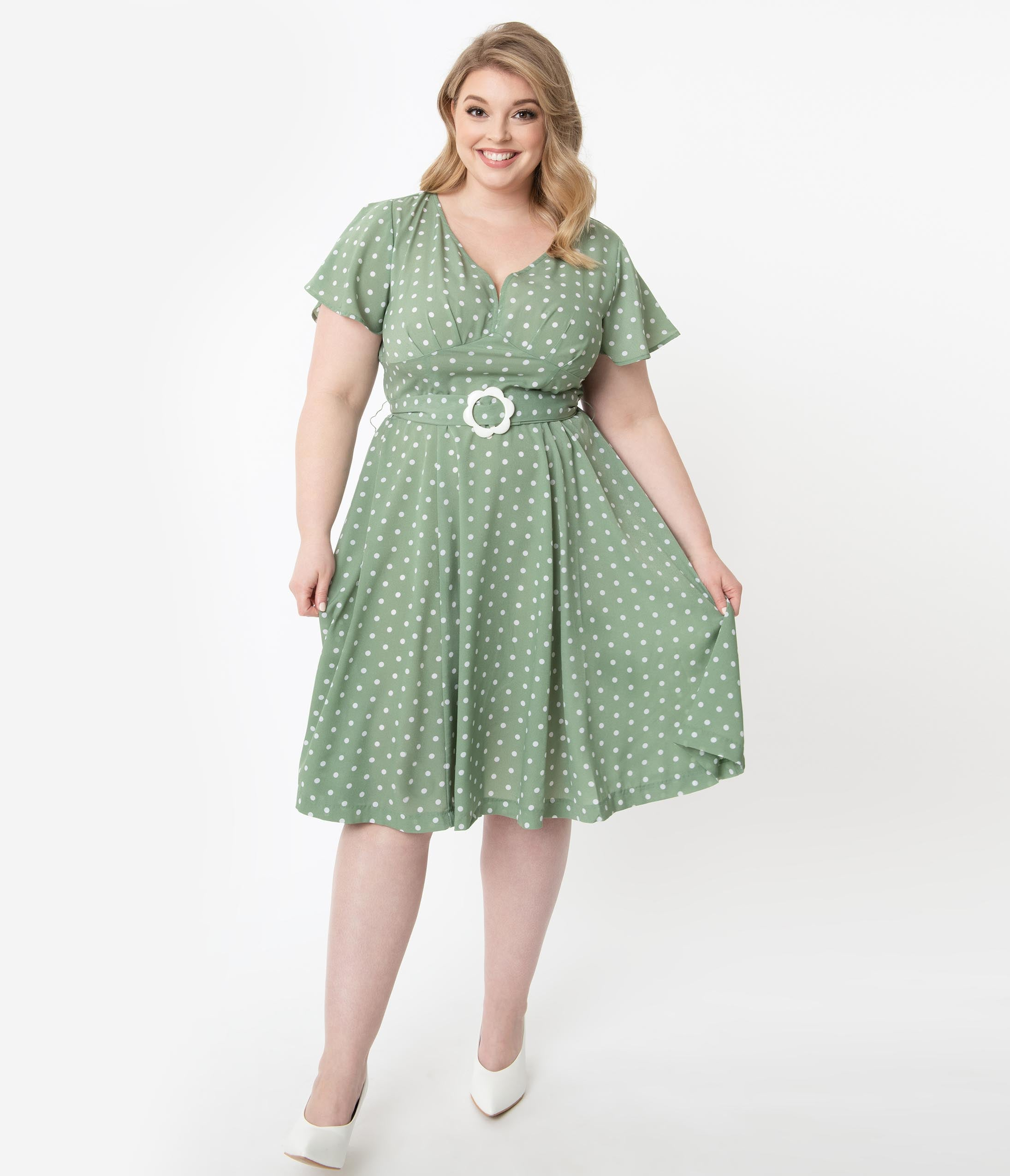 Swing Dance Clothing You Can Dance In Unique Vintage Plus Size 1940S Sage Green  Ivory Polka Dot Kay Swing Dress $68.00 AT vintagedancer.com