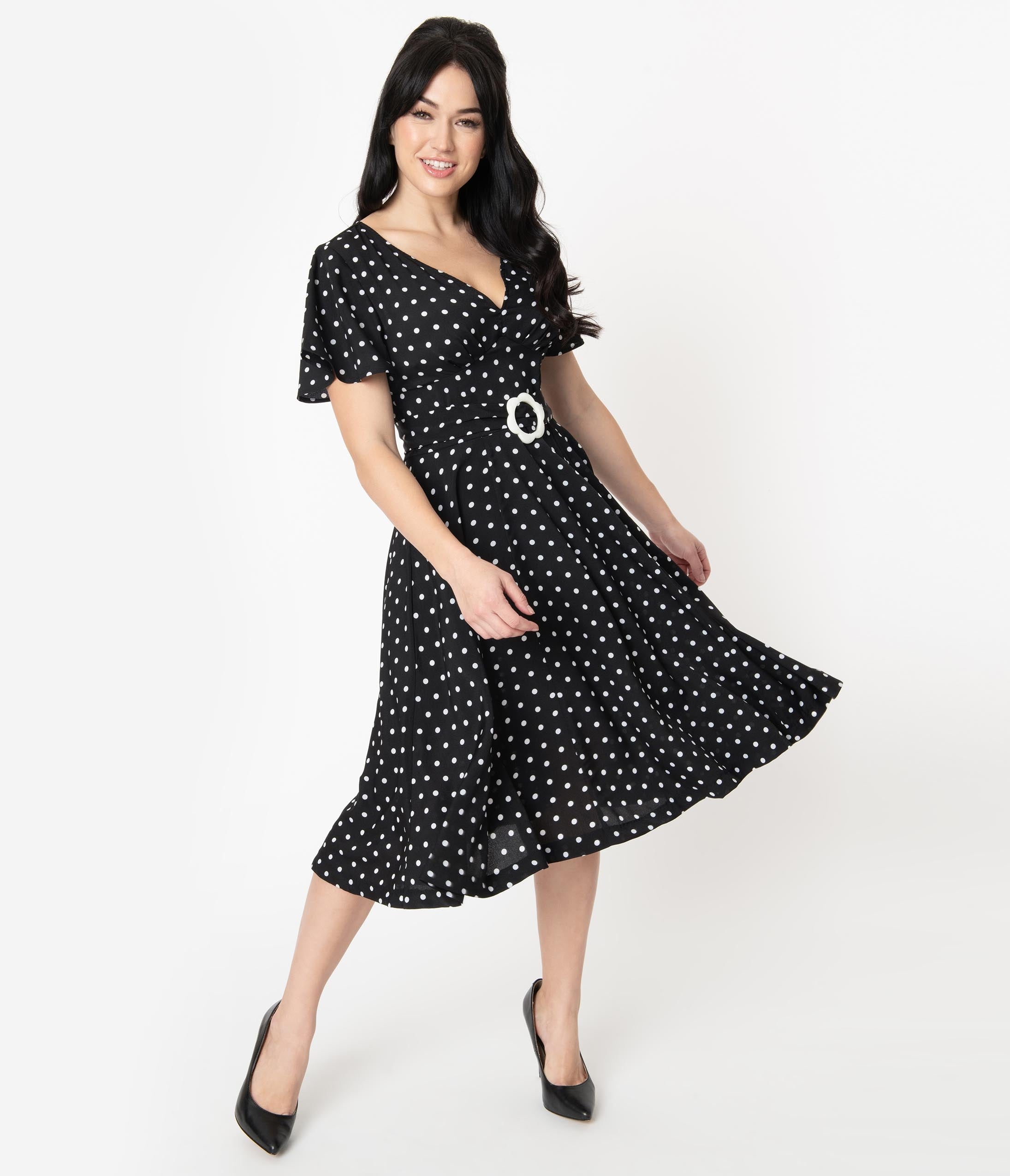 1940s Dress Styles Unique Vintage 1940S Black  White Polka Dot Kay Swing Dress $68.00 AT vintagedancer.com
