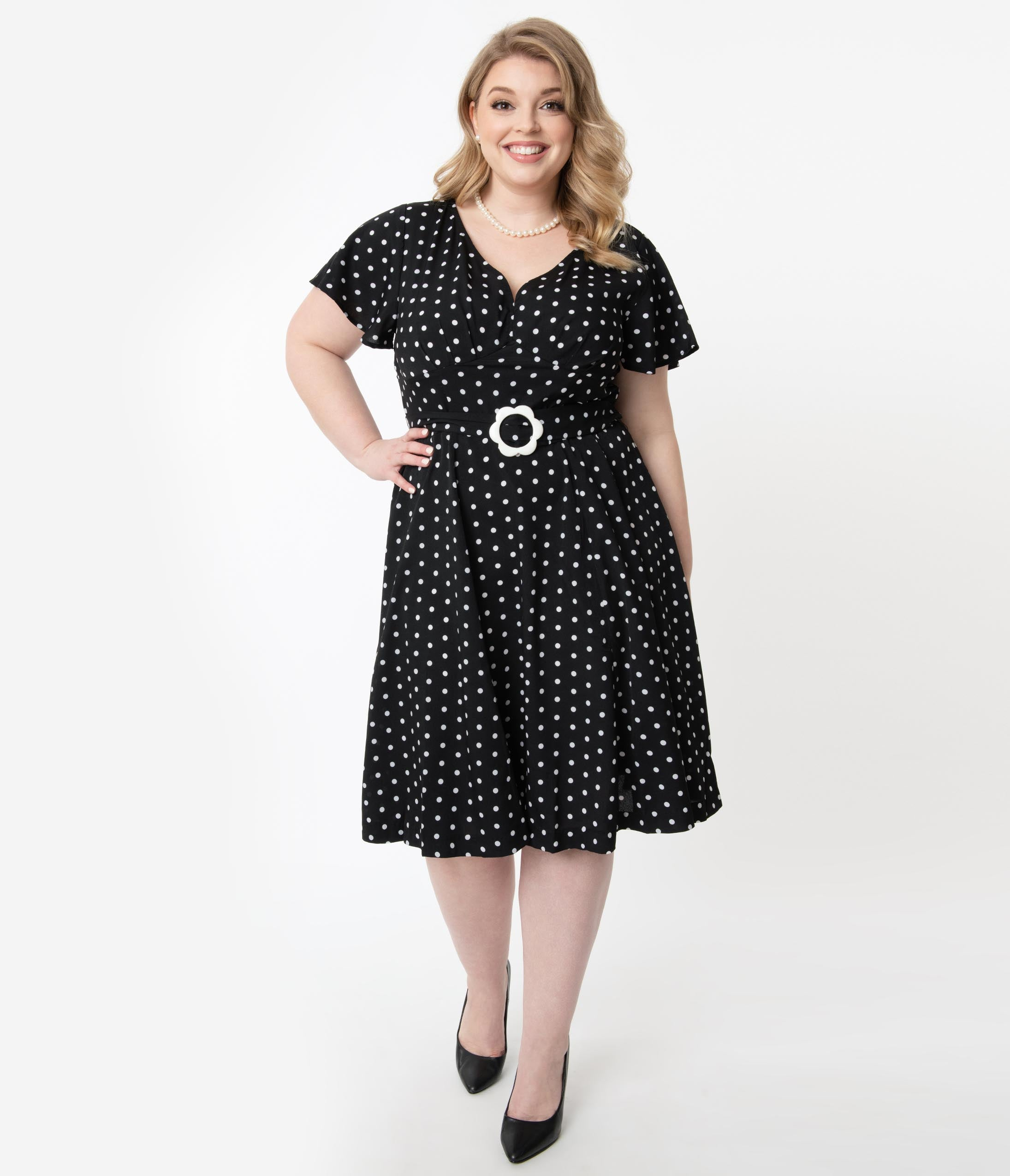 1940s Dress Styles Unique Vintage Plus Size 1940S Black  White Polka Dot Kay Swing Dress $68.00 AT vintagedancer.com