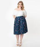 Unique Vintage Plus Size Navy Mushroom Print Jayne Swing Skirt