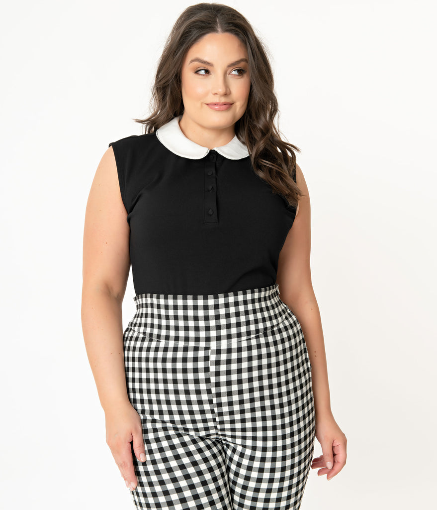 Unique Vintage Plus Size 1950s Black & White Collar Missy Top