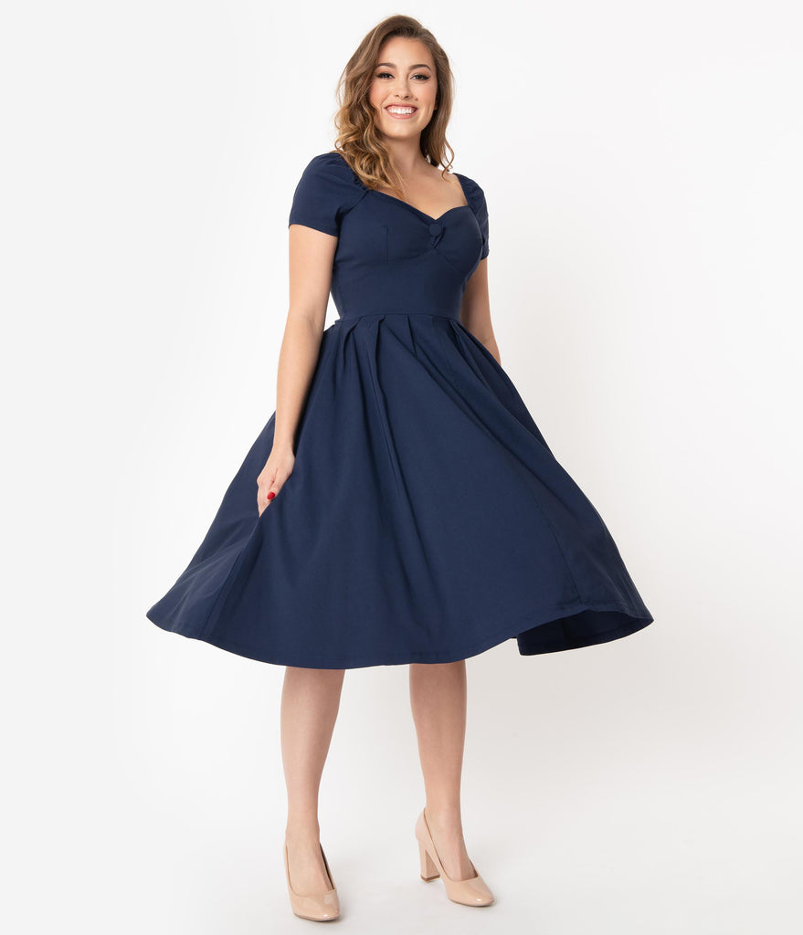 Unique Vintage 1950s Navy Sweetheart Midge Swing Dress