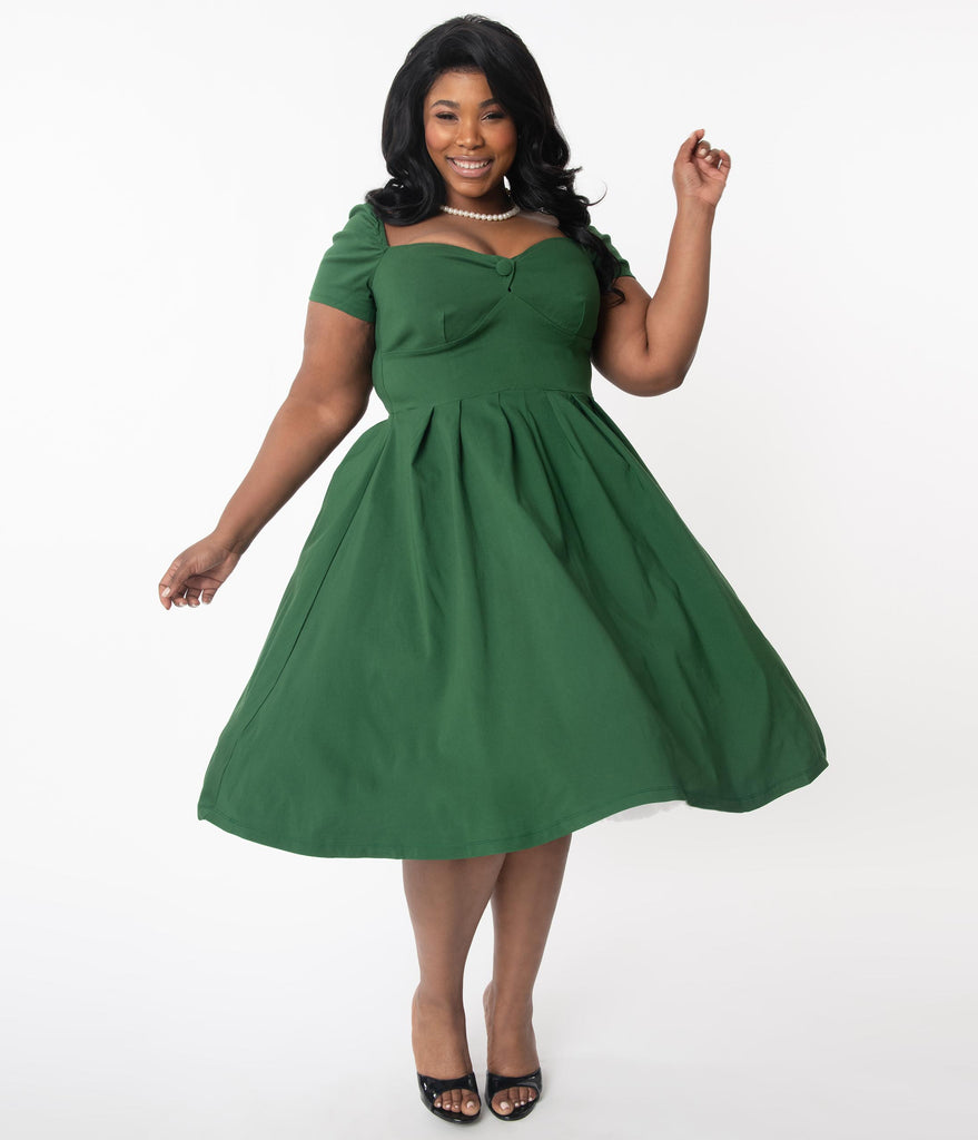 Unique Vintage Plus Size 1950s Green Sweetheart Midge Swing Dress