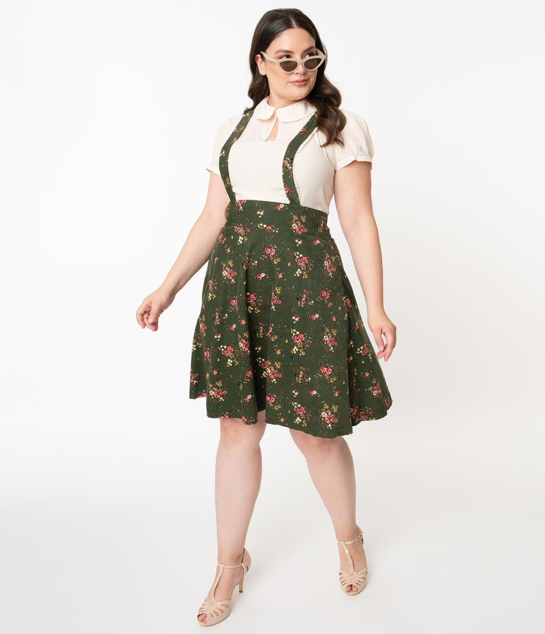 Unique Vintage Plus Size 1960s Olive Green Floral Print Suspender Ruth Flare Skirt
