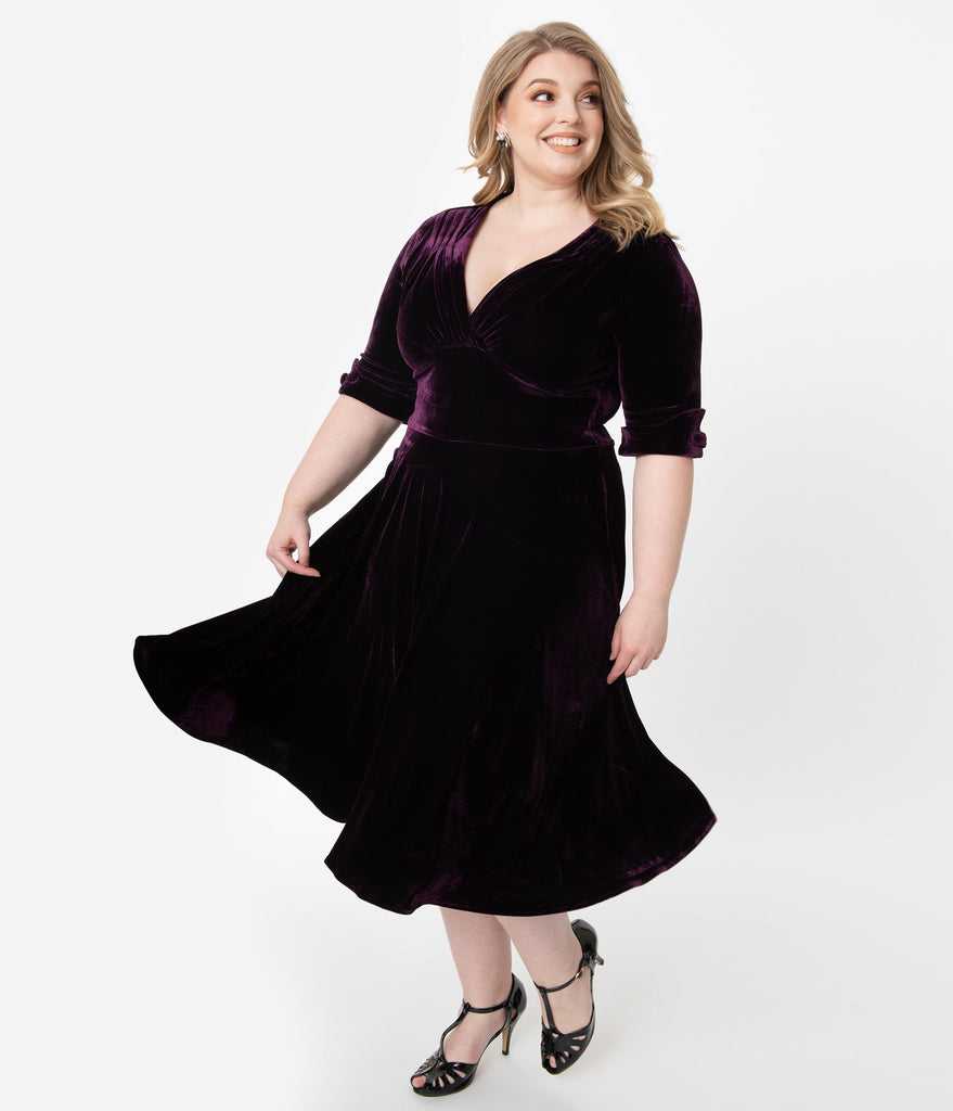 Unique Vintage Plus Size 1950s Purple Velvet Delores Swing Dress with Sleeves