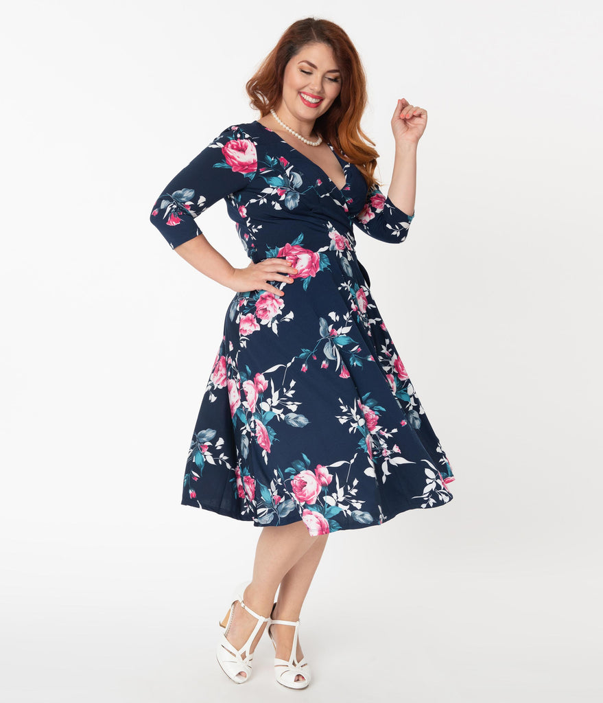 Unique Vintage Plus Size 1940s Navy & Pink Floral Sleeved Kelsie Wrap Dress
