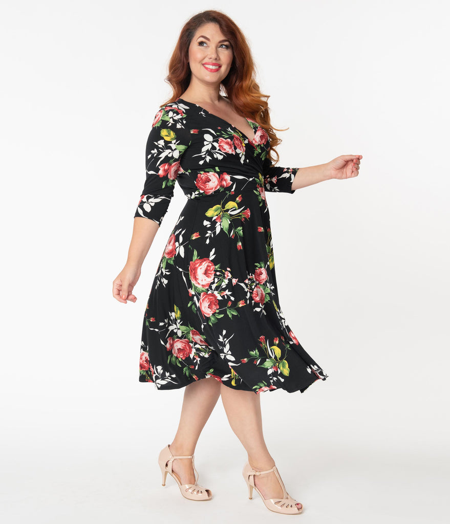 Unique Vintage Plus Size 1940s Black & Red Floral Sleeved Kelsie Wrap Dress