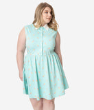 Unique Vintage Plus Size Mint Ice Cream Print Josie Fit & Flare Dress