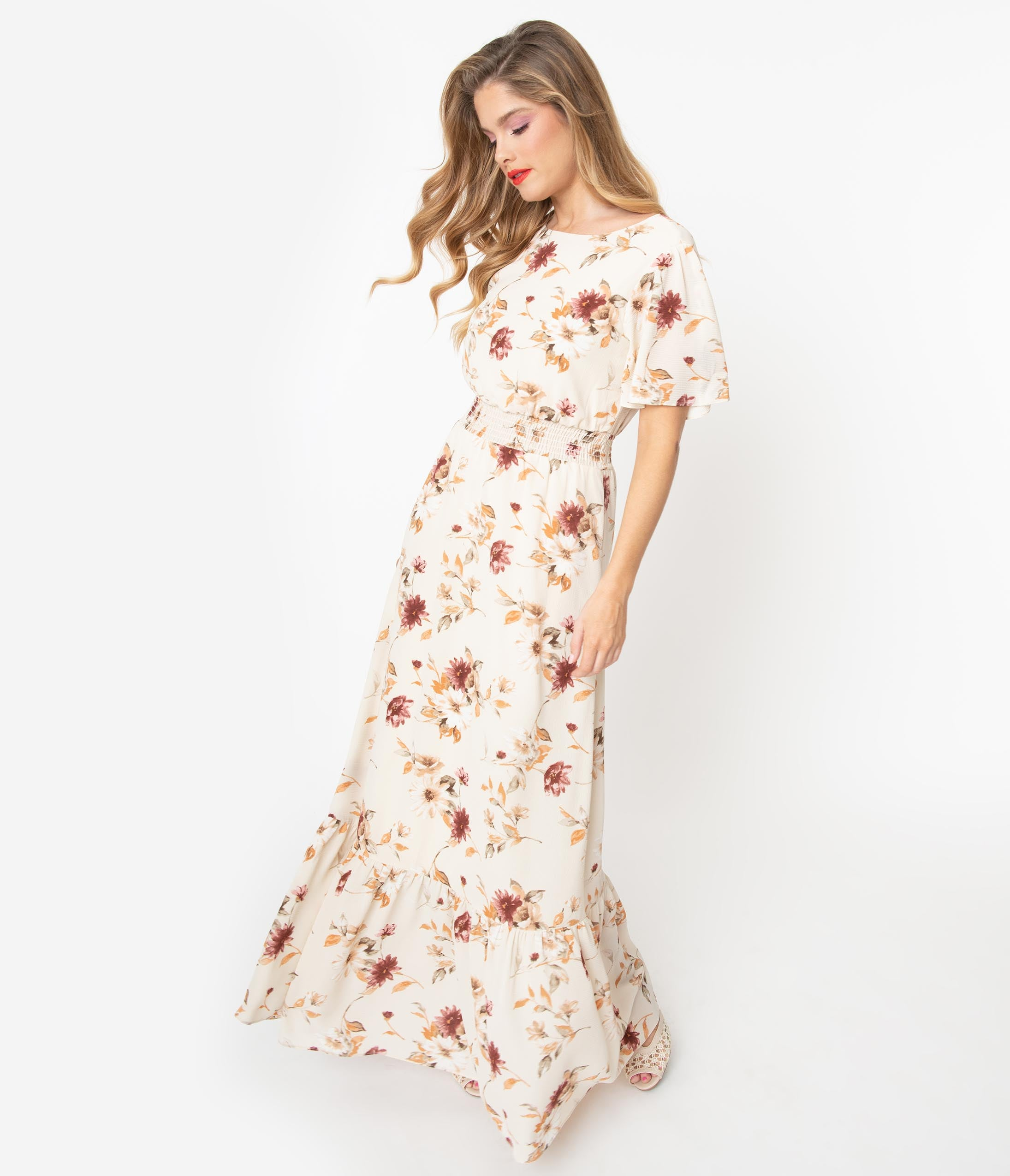 Swing Dance Clothing You Can Dance In 1940S Cream  Multi Floral Maxi Dress $78.00 AT vintagedancer.com