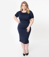 Plus Size Scoop Neck Pencil-Skirt Fitted Short Sleeves Sleeves Cocktail Knit Dress