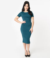Cocktail Pencil-Skirt Fitted Knit Short Sleeves Sleeves Scoop Neck Dress