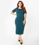 Unique Vintage Plus Size 1960s Teal Short Sleeve Mod Wiggle Dress