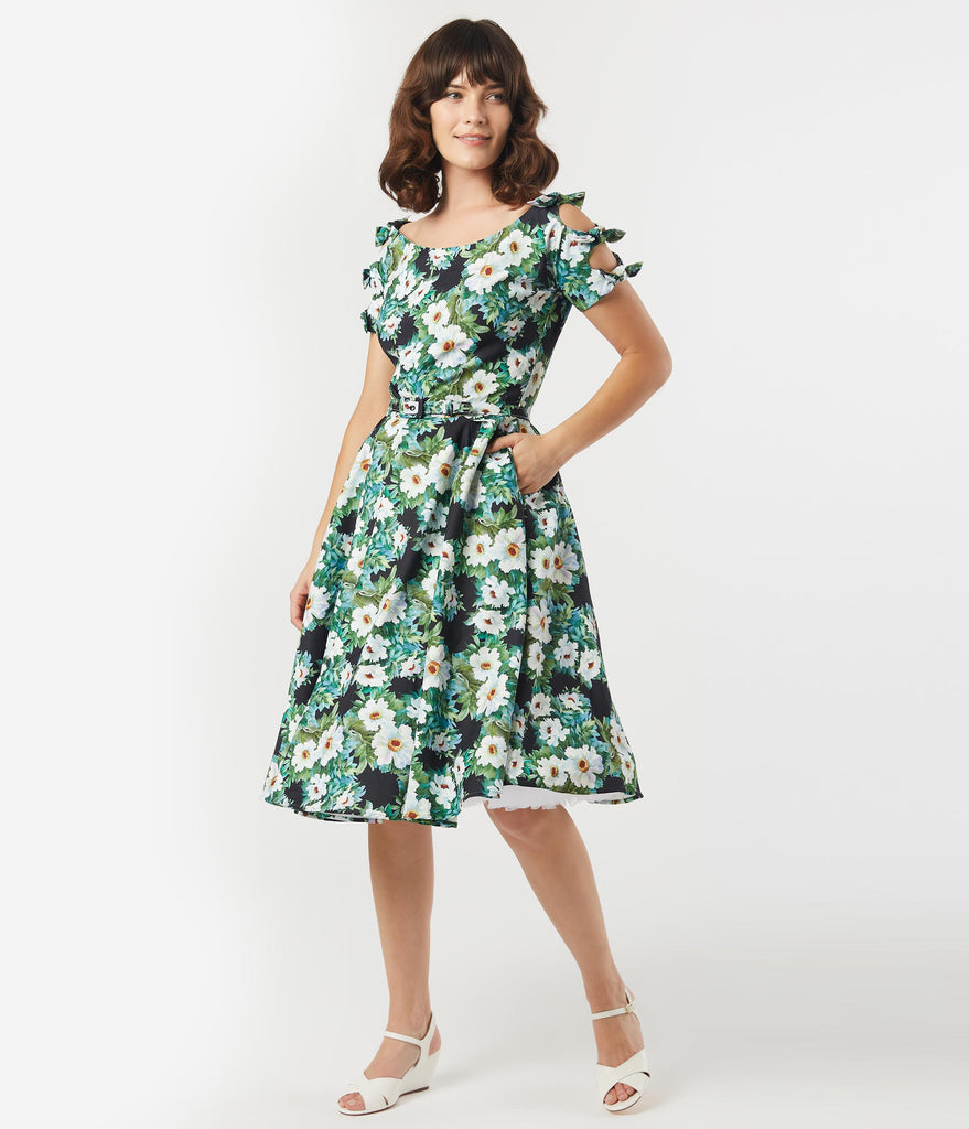 Unique Vintage 1950s Black & White Floral Selma Swing Dress