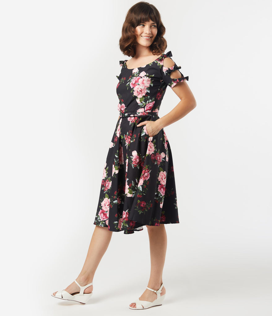 Unique Vintage 1950s Black & Pink Peony Floral Selma Swing Dress