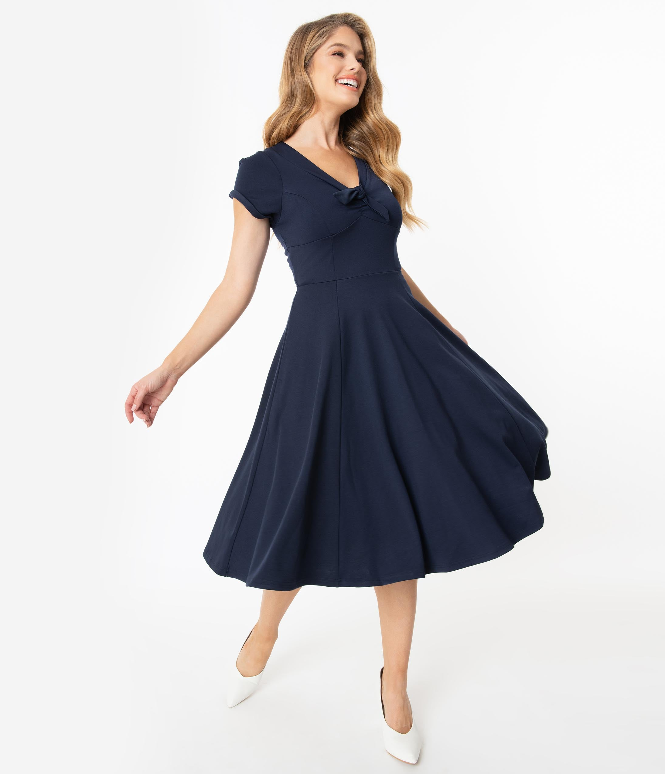 1940s Dresses | 40s Dress, Swing Dress Unique Vintage 1940S Style Navy Blue Natalie Swing Dress $78.00 AT vintagedancer.com