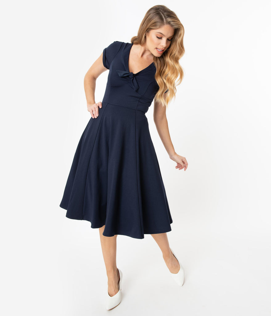 Unique Vintage 1940s Style Navy Blue Natalie Swing Dress